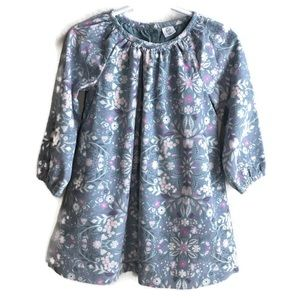Baby Gap Grey and Pink Floral Curdaroy Dress Sz 3